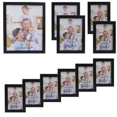 Giftgarden Multi Photo Frames Chic Synthetic Wood Frame Holds 11 Photos: Amazon.co.uk: Kitchen & Home