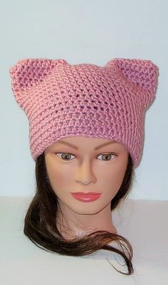 FREE SHIPPING. Pink Cat Hat Crochet Warm Pink Cat by TiStephani