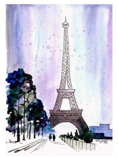 Snow Covered Paris, Watercolor Painting Print - Eiffel Tower home decor, paris wall art print Snow Covered Paris Watercolor Painting Print by KelseyMDesigns Wall Art Prints, Painting Snow, Paris Wallpaper, Watercolor Paintings, Eiffel Tower Art, Amazing Art Painting, Painting Prints, Paris Wall Art, Original Watercolor Painting