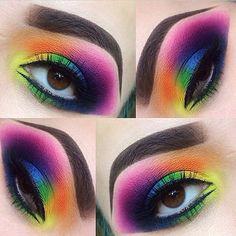 Amazing rainbow eye make up! (sugarpill Majestic rainbow eyes by using and eyeshadows! Eye Makeup Tips, Makeup Goals, Eyeshadow Makeup, Makeup Art, Makeup Ideas, Fun Makeup, Smokey Eyeshadow, Glowy Makeup, Scary Makeup