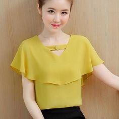 e805f4cb3432 Womens Tops and Blouses Summer Chiffon Blouse Women Clothes Ladies Tops  Short Sleeve Shirt Ruffles Clothing Camisa Feminina