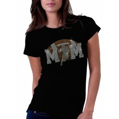 Faded Football Mom Rhinestone T Shirts