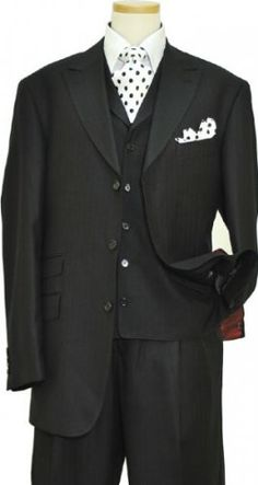 Extrema Black Shadow Pinstripes Super 120's Wool Vested Suit S3618 / 39