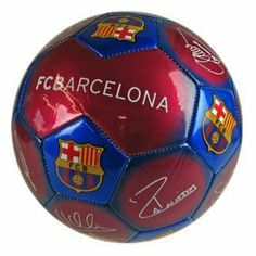 FC Barcelona Signature Ball by F.C. Barcelona. $29.00. Size 5 Football. Features the printed signatures of players like Messi and more!. Official FC Barcelona Product. Go for a kick about with this awesome FC Barcelona size 5 soccer ball.  Officially licensed product featuring the FC Barcelona crest and printed signatures of your favorite players!