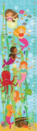 Oopsy Daisy Mermaid Mingle and Play Growth Chart Boys Growth Chart, Growth Charts, Baby Chart, Personalized Growth Chart, Ocean Art, Elementary Art, Bellisima, Art For Kids, Wrapped Canvas