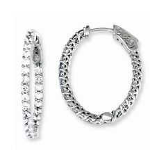 Sterling Silver CZ 46 Stones In and Out Oval Hoop Earrings