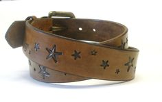 Antiqued Brown Belt with Stars Brown Leather Belt Mens Leather Belt Womens Leather Belt. $55.00, via Etsy.