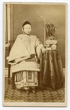 C1860s China CDV of Beautiful Chinese Woman Rich Concubine in Furs Bound Feet   eBay