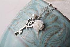 Vintage+key+necklace++white+rose+necklace++by+BijouxKarmaJewelry,+$16.00