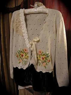 ... linen sweater, altered couture upcycled clothing, Medium on Wanelo