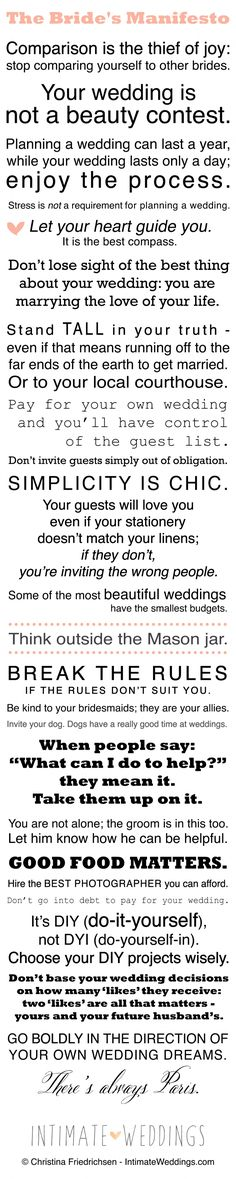 The Bride's Manifesto... I absolutely love this! Perfect.