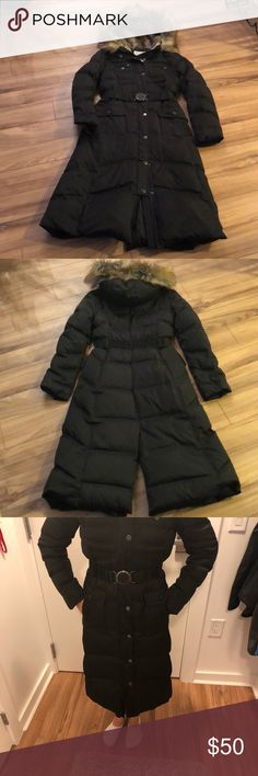 """Laundry by Shelli Segal Long Puffer Coat I LOVE this coat and hate to part with it but I have to get rid of one 😢.  Great condition!  This is a LONG coat/hits me mid calf.  I am 5'4"""" FYI.  SUPER warm!  Has a fur lined removable hood and cinched belted waist.  Belt is attached to coat.  Has a zipper/snap closure.  Has fleece lined pockets.  Pocket snaps are just for show! Back of Coat has a split at back to allow for movement walking.  My favorite part is the inner leopard print piping…"""