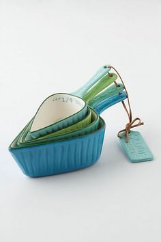 Unique measuring cups have been the apple of my eye for the past few years. Small Goal: not one white plastic measuring cup in my kitchen. These will definitely help me reach said goal.    Spades Measuring Cups #anthropologie