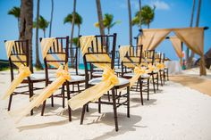 Chair bows don't always have to be tied around the back of the chair. Talk to your wedding coordinator about what creative ideas they have! #DreamsPalmBeach