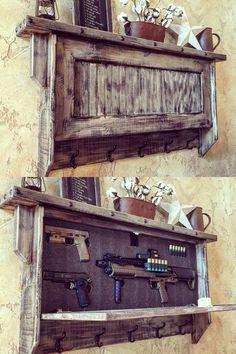 Home Furniture Wooden Modern Furniture Table Hidden Gun Storage, Weapon Storage, Safe Storage, Storage Ideas, Diy Wooden Projects, Wooden Diy, Pallet Crafts, Pallet Projects, Rustic Furniture