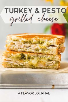 These turkey pesto grilled cheese sandwiches are SUPER easy and SO good! Just an easy grilled cheese recipe with deli turkey, pesto, creamy jack cheese, and cheddar. #grilledcheese #turkey #pesto #turkeygrilledcheese #sandwichrecipes #grilledcheeserecipe Pesto Sandwich, Toast Sandwich, Grilled Sandwich, Sandwich Recipes, Grilled Cheese Recipes Easy, Cheddar Cheese Recipes, Pesto Grilled Cheeses, Roasted Tomato Soup, Grilled Turkey