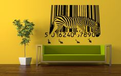 Wall Vinyl Sticker Decals Mural Room Design Pattern Art Zebra Horse Bar code Wild Animal Africa bo761 by RoomDecalsAndDesigns on Etsy