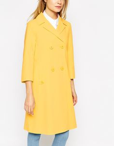 Image 3 ofASOS Coat With Swing Fit And Pleat Back