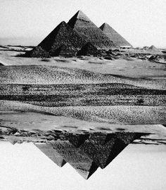 #pyramids #desert #flip #inverted #mirror image