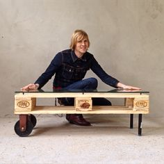 OC67 Living Table from Recycled EU Pallet and 70's DDR Germany Castors.  Oliver Casis © 2015