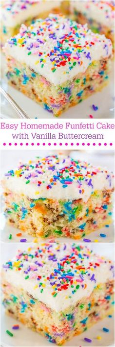 Easy Homemade Funfetti Cake – Move over storebought cake mix! This easy cake o… Easy Homemade Funfetti Cake – Move over storebought cake mix! This easy cake only takes minutes to make and tastes wayyyy better! Baking Recipes, Cookie Recipes, Dessert Recipes, Yummy Treats, Sweet Treats, Little Muffins, Cuisine Diverse, Think Food, Yummy Cakes