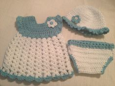 Adorable, super soft crochet baby dress, hat and diaper cover with flower in baby blue and white 0-3 months
