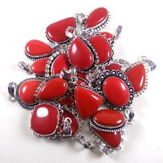 Christmas Sale !! Wholesale Lot 100 PCs Red Coral 925 Silver Plated Pendant. #Gajrajgems92_9 #Pendant