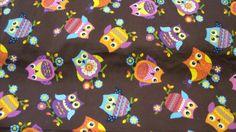 Stoff ♥ Eulen ♥ braun - bunt♥  Baumwolle (n) von ஐღKreawusel-aufgehübscht✂ஐ  auf DaWanda.com