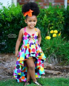 Best 12 How adorable is ! Custom polka dot dramatic high low dress now available! Peekaboo bodice and strap up back makes this dress… Baby African Clothes, African Dresses For Kids, Latest African Fashion Dresses, African Print Dresses, Kids Outfits Girls, Little Girl Dresses, Teen Dresses, Woman Outfits, Midi Dresses