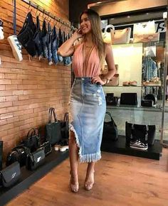 Women S Fashion Overnight Shipping Moda Outfits, Skirt Outfits, Trendy Outfits, Cute Outfits, Vogue Fashion, Denim Fashion, Fashion Outfits, Ragged Jeans, Pink Pleated Skirt