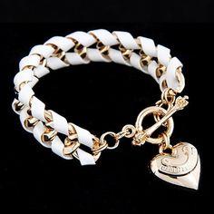 Pulsera de Dijes exquisita moda Golden Heart