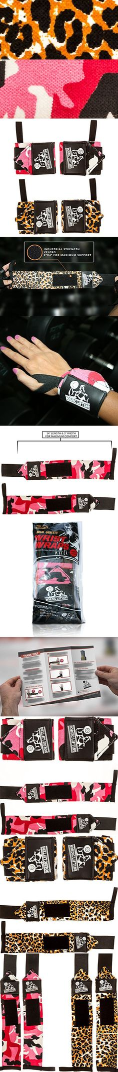 Wrist Wraps (2 Pairs/4 Wraps) for Weightlifting/Crossfit/Powerlifting/Bodybuilding - For Women & Men -Premium Quality Equipment & Accessories Hand Strength-(Leopard & Camo Red)-1 Year Warranty
