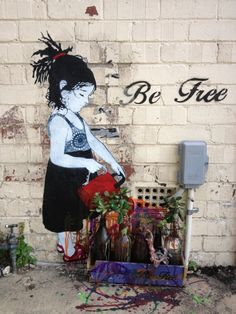 Be Free! wall art  graffiti grafic paint street art