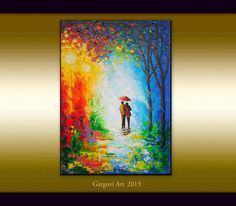 Original Painting - Couple With Umbrella - Rainy Landscape - Colorful Umbrella Painting - Oil On Canvas - Contemporary Fine Art By Gargovi