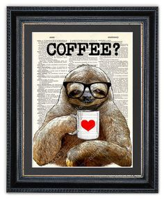 Sloth with coffee.  ❤ SIZE & COLOR ❤  approx. 8 x 10.67 (20,3 x 27,1 cm)  Special multi-pass printing method to ensure rich and vibrant colors.  ❤ PAPER ❤  Real dictionary page backed with 150g/m² paper for added stability.  ❤ MULTIPLE PURCHASES ❤  When you purchase any 2 prints use coupon REBOOK10 at checkout to get 10% off your purchase. When you purchase any 3 or more prints use coupon REBOOK20 at checkout to get 20% off your purchase. For help on how to use coupons, visit…