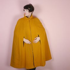 Mustard YELLOW big wool cape with ZIP up front by SartorialMatters