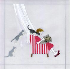 『私と彼女の日常』 アクリル絵具・トレーシングペーパー 25cm×25cm