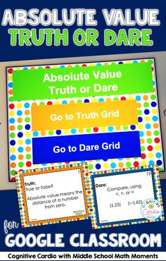 Use this interactive math game for Google classroom to help your students practice absolute value concepts. #math Algebra Activities, Math Resources, Math Games, Teaching Numbers, Teaching Math, Google Classroom, Math Classroom, Sixth Grade Math, Absolute Value