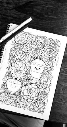 Cute Doodle Art, Doodle 2, Doodle Art Drawing, Art Drawings Sketches, Cute Drawings, Kawaii Doodles, Cute Doodles, Mandala Doodle, Mandala Art
