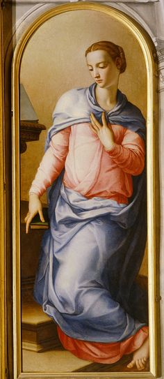 """""""Virgin of the Annunciation"""", Agnolo di Cosimo Tori called Bronzino, 1540 - 1545, oil painting on wood, The Chapel of Eleonora Zoom it on http://www.google.com/culturalinstitute/project/art-project?hl=it"""