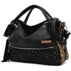 Sequin Leopard Handbag