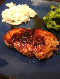 Honey-Brown Sugar Pork Chops - Merri helpfully made the sauce...and licked the spoon clean.