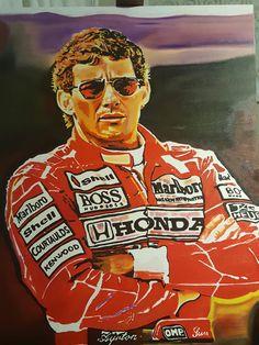 Ayrton Senna Óleo sobre tela de 70x90cm.