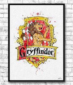 Gryffindor Crest 2 Watercolor Print Harry Potter Fine by ArtsPrint