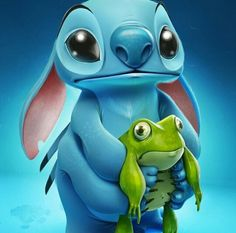Stitch and frog <<<<I love lilo and stich!~ my favorite cartoons when I was little was lilo and stich and beauty and the beast Walt Disney, Disney Pixar, Disney And Dreamworks, Disney Love, Disney Magic, Disney Villains, Disney Parks, Disney Cartoon Characters, Stitch Disney
