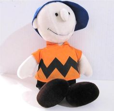 Charlie Brown Doll in Baseball Cap Plush Peanuts Gang 15.5 in.  tall Determined  #DeterminedProductions