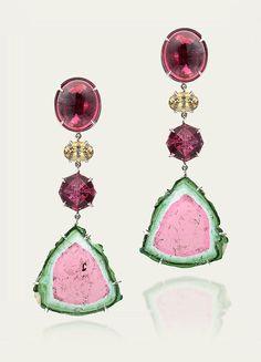 Earrings @ Tamsen Z Watermelon Tourmaline, Rubellite & Demantoid Garnet Earrings. Pink Jewelry, Girls Jewelry, Cheap Jewelry, Jewelry Box, Garnet Earrings, Gemstone Earrings, Tourmaline Jewelry, Walmart Jewelry, Fashion Earrings