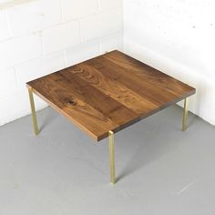 Custom Made Walnut & Brass Coffee Table
