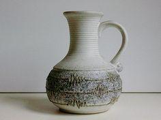 VEB+Strehla+keramik+ceramic+handled+jug+vase+East+Germany