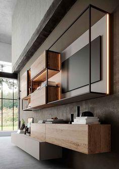Modern Tv Wall, Living Room Modern, Interior Design Living Room, Design Bedroom, Design Interiors, Living Rooms, Small Living, Lcd Wall Design, Bedroom Tv Wall
